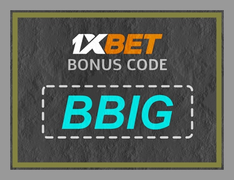 Illustration of 1xbet bonus code in big format