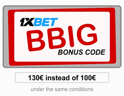 Illustration of 1xbet welcome offer in big format