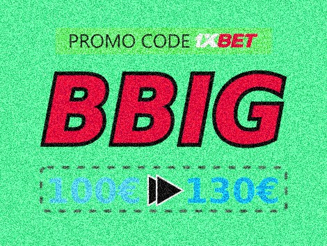 Illustration of Bonus and promo code on sports betting at 1xbet in big format