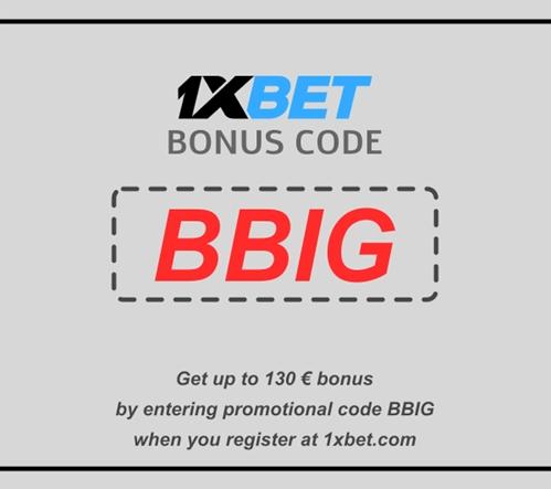 Illustration of 1xbet promo code at registration in big format