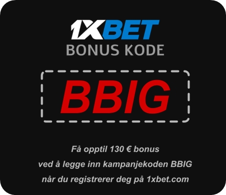 Illustrasjon av bonuskode for 1xbet i stor